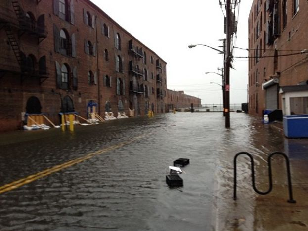 A flooded street in the Red Hook section of Brooklyn, New York directly following super storm Sandy