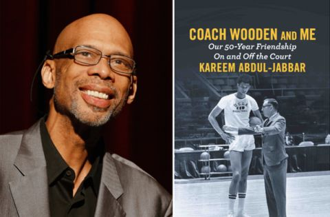 Kareem Abdul-Jabbar (left) and book cover for Coach Wooden and Me