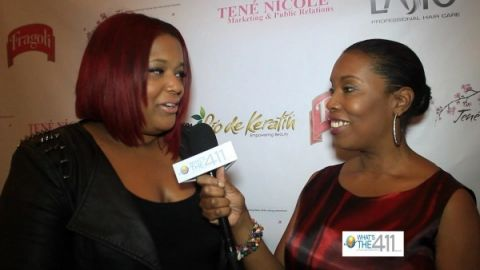 Janel Smith, Celebrity Hairstylist and owner of CoCo Mane Hair Salon, talking with What's The 411TV correspondent Barbara Bullard