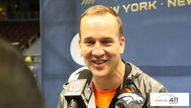DENVER BRONCOS QUARTERBACK PEYTON MANNING AT SUPER BOWL 2014 MEDIA DAY