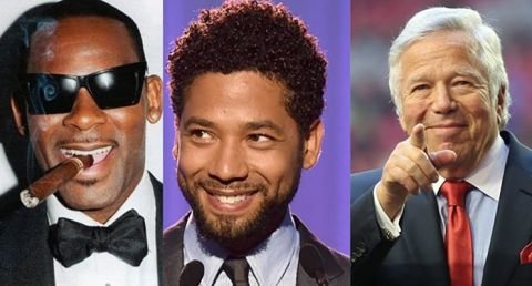 Men behaving badly (l to r): R. Kelly, Jussie Smollett, and Robert Kraft, each are embroiled in their own scandal