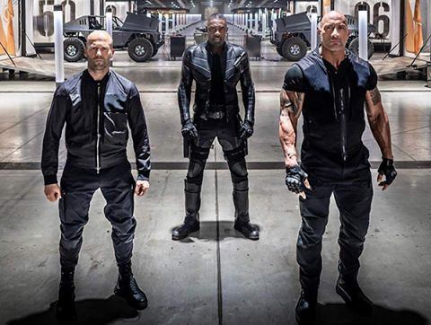 Fast and Furious presents: Hobbs and Shaw actors (left to right): Jason Statham, Idris Elba, and Dwayne Johnson