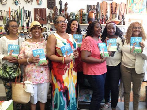 Minnette Coleman (3rd from left) with members of the Harlem Writers Guild at the book launch for Coleman's book, THE TREE: A Journey to Freedom