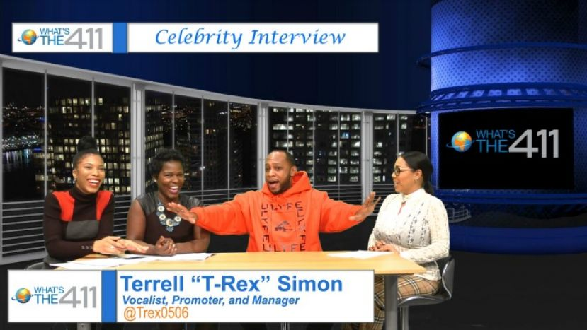 "Vocalist, promoter, manager, Terrell ""T-Rex"" Simon on the set with the ladies of What's The 411: (L to R) Essence Semaj; Onika McLean; and Courtney Rashon"