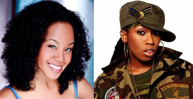 Side-by-Side photo of Chattrisse Dolabaille (left) who will play Missy Elliott on the right.