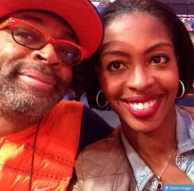 Filmmaker Spike Lee and What's The 411TV correspondent, Crystal L. Harris