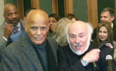 Photo left to right: Singer, songwriter, actor, and social activist, Harry Belafonte and social relevant photographer Stephen Somerstein