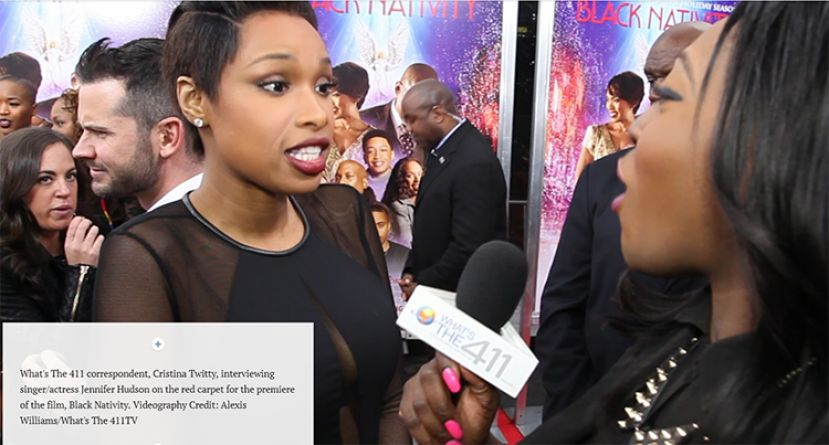 What's The 411 correspondent, and Brooklyn College graduate, Cristina Twitty (right) interviewing singer/actress Jennifer Hudson on the red carpet for the premiere of Black Nativity.
