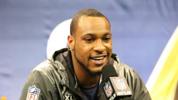 SEATTLE SEAHAWKS wide receiver PERCY HARVIN at Super Bowl 2014 Media Day