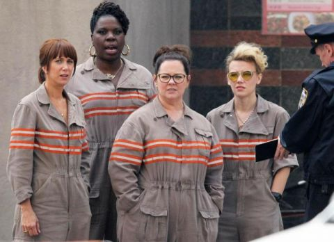 The Ghostbusters cast (l to r): Kristen Wiig, Leslie Jones, Melissa McCarthy, and Kate McKinnon