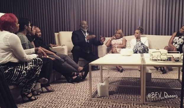 Bishop TD Jakes counseling the Braxton sisters on Braxton Family Values