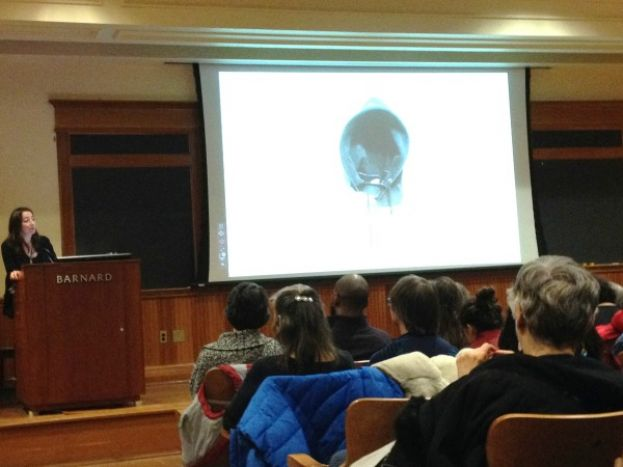 Saskia Hamilton, Director, Women Poets at Barnard opening a session of Writers at Barnard featuring poets Claudia Rankine and Robert Hass