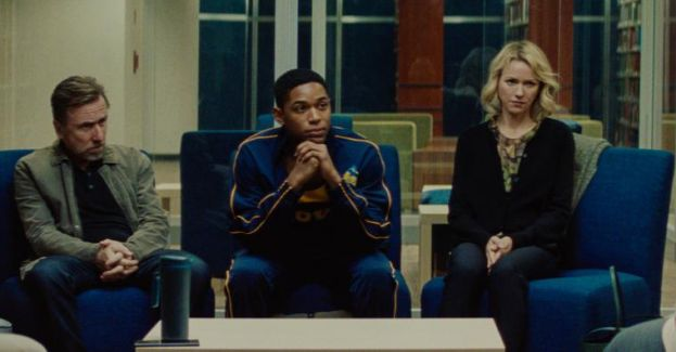 Actors Tim Roth, Kelvin Harrison, Jr. and Naomi Watts talking with school officials in Luce.