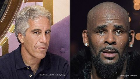Accused sexual predators, financier, Jeffrey Epstein (left), and singer, music producer, R. Kelly