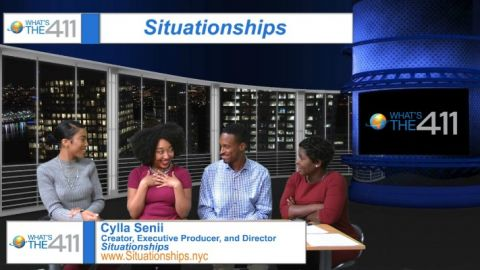 Left to right: What's The 411 host, Essence Semaj; Cylla Senii, Creator, Executive Producer, and Director, Situationships; Brandon Brathwaite, Producer, Situationships; and Onika McLean, host of What's The 411