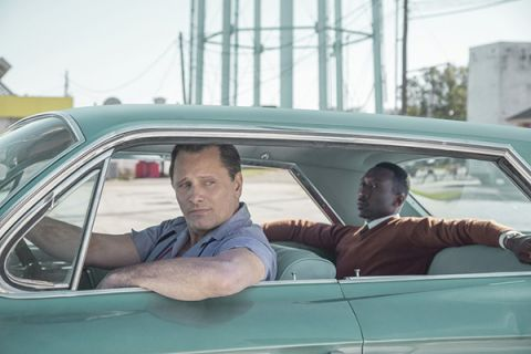 Actor Viggo Mortensen (l) playing Tony Vallelonga driving Dr. Shirley played by Mahershala Ali in the movie, Green Book