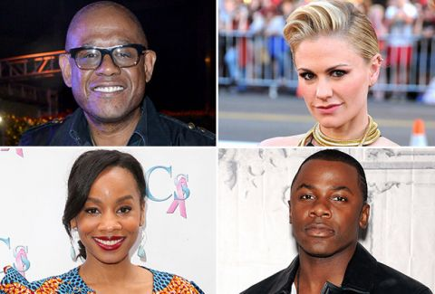Photo (clockwise from top left): Forest Whitaker, Anna Paquin, Derek Luke, and Anika Noni Rose to star in the remake of Roots, which will air on A&E