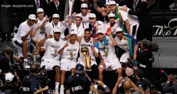 San Antonio Spurs team following the decisive NBA Finals championship game
