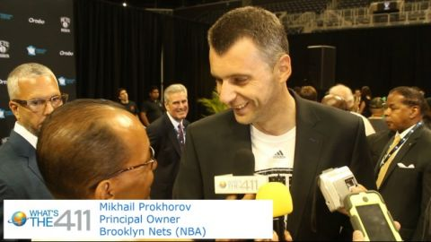 Brooklyn Nets owner Mikhail Prokhorov speaking with What's The 411 reporter Andrew Rosario
