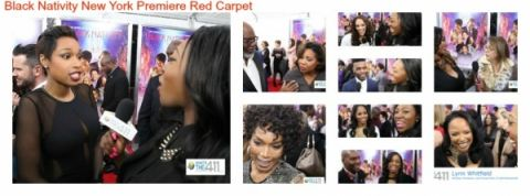 A collage of photos from the Black Nativity Movie Premiere at the Apollo Theater