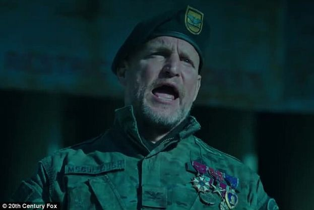 Woody Harrelson as the war-mongering Colonel in the movie, War for the Planet of the Apes.