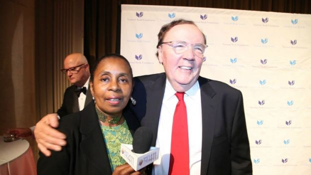 What's The 411 Book Editor Luvon Roberson and award-winning author James Patterson on the red carpet at the 2015 National Book Awards at Cipriani Wall Street in New York City