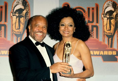 Award-winning singer/actress Diana Ross (r) and Motown Records founder, Berry Gordy Jr., backstage at the 1995 Soul Train Awards. Ms. Ross won the Heritage Award for Career Achievement