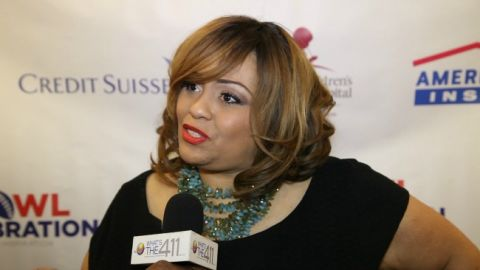 Super Bowl Gospel Celebration founder, Melanie Few-Harrison talking with What's The 411TV correspondent, Cristina Twitty