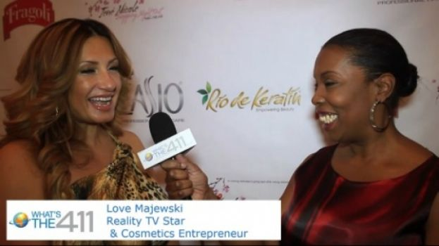 Love Majewski, Mob Wives personality, being interviewed by What's The 411TV correspondent Barbara Bullard