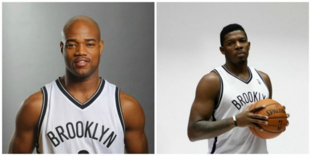Brooklyn Nets point guard Jarrett Jack and shooting guard Joe Johnson