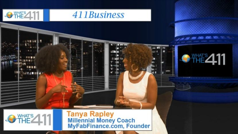 Tonya Rapley, The Millennial Money Coach, on the set with What's The 411 host Kizzy Cox