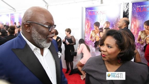 Bishop T.D. Jakes and his wife, Serita chatting on the red carpet at Black Nativity New York Premiere