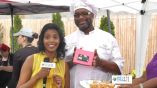 Stacy Narine interviewing Todd Jones owner of Sweet Dreams Mini Donuts at the 2013 Brooklyn Beer and Wine Festival