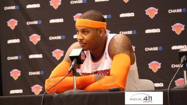 New York Knicks small forward, Carmelo Anthony, addressing the media