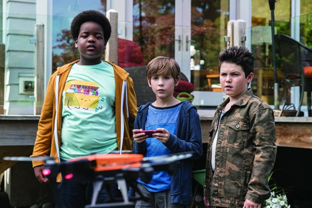 Keith L. Williams, Jacob Tremblay, and Brady Noon, young actors in a scene from the movie, Good Boys.