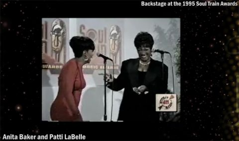 Award-winning R&B singer, Patti LaBelle (left), joking with fellow award-winning R&B singer Anita Baker backstage at the 1995 Soul Train Awards