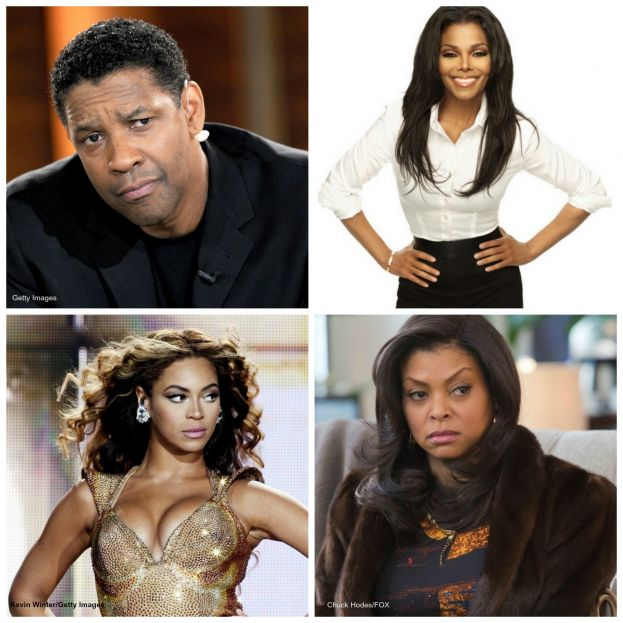 Photo clockwise from top left: Academy Award-winning actor Denzel Washington, pop star Janet Jackson, award-winning actress Taraji P. Henson, and pop star Beyonce