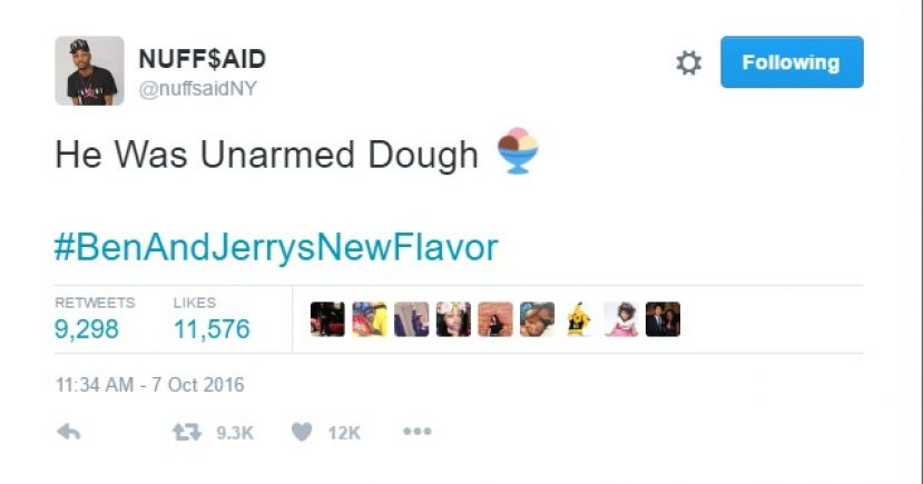 @nuffsaidNY posted a very creative Twitter in response to Ben and Jerry's support of the Black Lives Matter movement