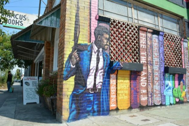 A mural on the side of Marcus Books in Oakland, California