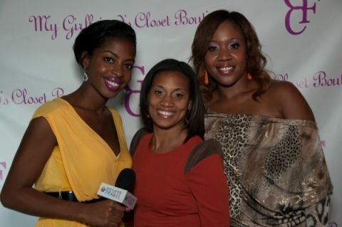 Left to right: What's The 411 reporter, Crystal Lynn  talking with the founders of My Girlfriend's Closet, Valerie Morrison and Saffiyah Rodgers